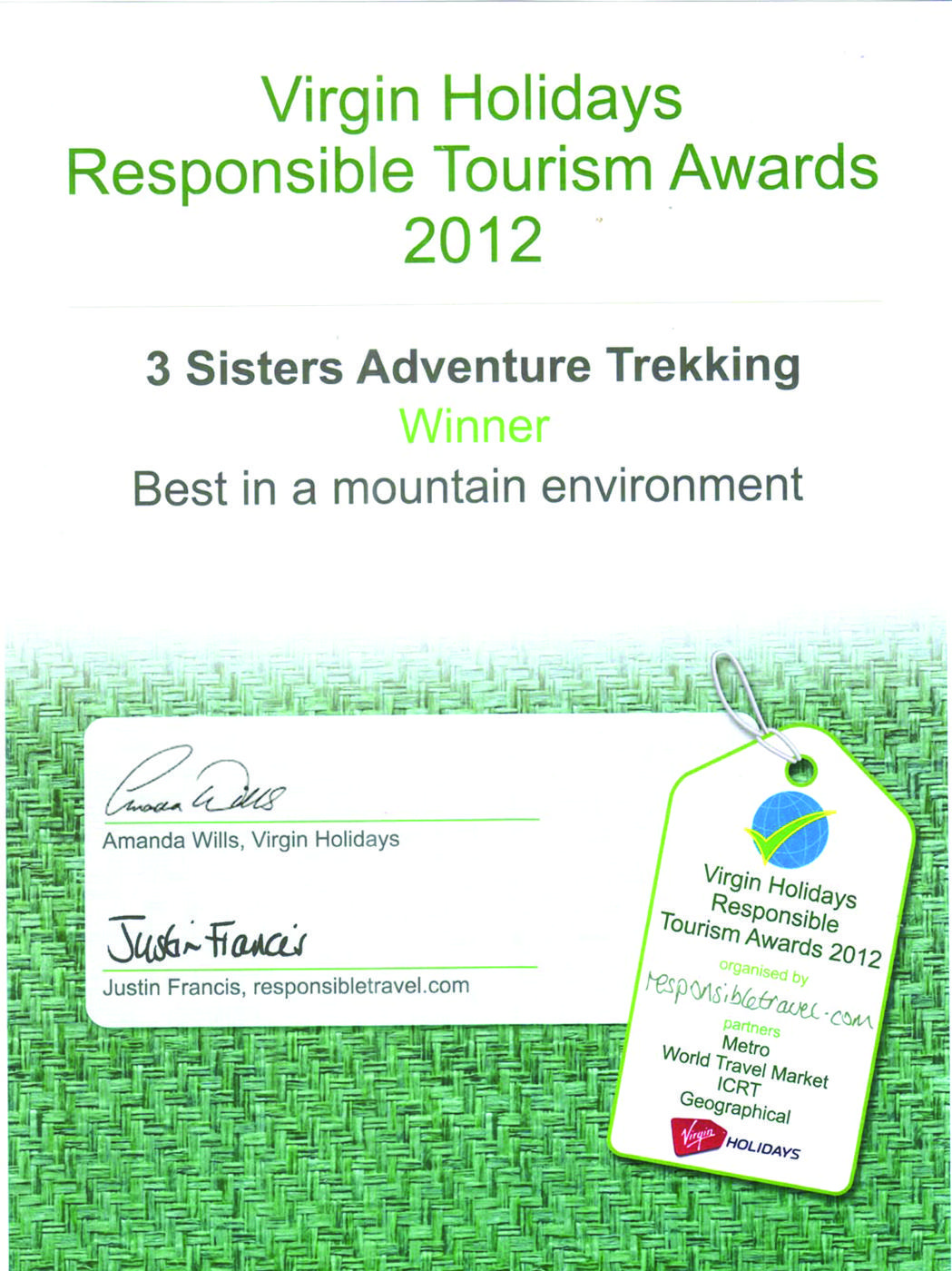 Virgin holidays responsible tourism  winner 2012